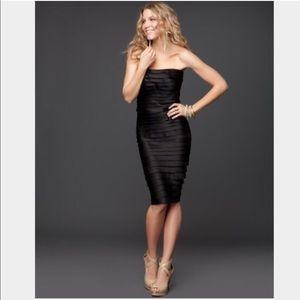 Bebe Black Satin Strapless Tiered Dress